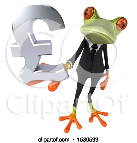 Clipart of a 3d Green Business Frog Holding a Pound Currency Symbol, on a White Background - Royalty Free Illustration by Julos