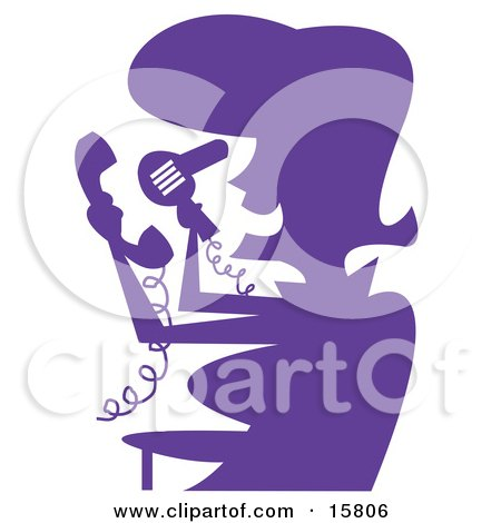 Woman In Silhouette, Blow Drying Her Hair While Talking On A Telephone Clipart Illustration by Andy Nortnik