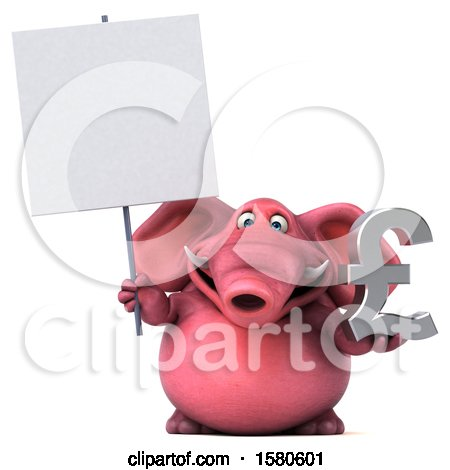 Clipart of a 3d Pink Elephant Holding a Pound Currency Symbol, on a White Background - Royalty Free Illustration by Julos