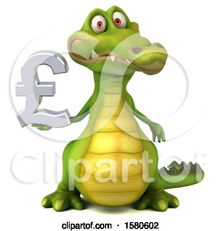 Clipart of a 3d Crocodile Holding a Pound Currency Symbol, on a White Background - Royalty Free Illustration by Julos