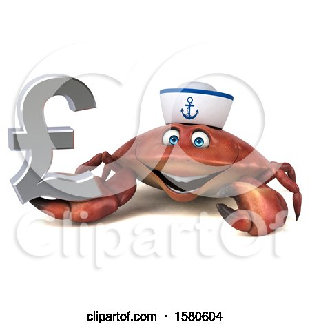 Clipart of a 3d Sailor Crab Holding a Pound Currency Symbol, on a White Background - Royalty Free Illustration by Julos