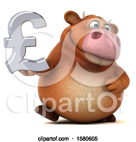 Clipart of a 3d Brown Cow Holding a Pound Currency Symbol, on a White Background - Royalty Free Illustration by Julos