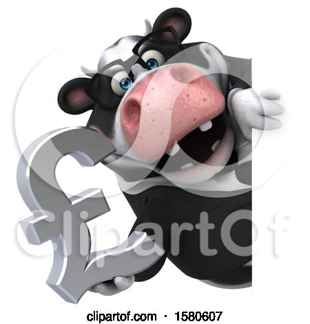Clipart of a 3d Business Holstein Cow Holding a Pound Currency Symbol, on a White Background - Royalty Free Illustration by Julos