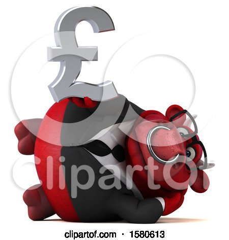 Clipart of a 3d Red Business Bull Holding a Pound Currency Symbol, on a White Background - Royalty Free Illustration by Julos