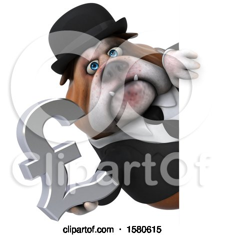 Clipart of a 3d Gentleman or Business Bulldog Holding a Pound Currency Symbol, on a White Background - Royalty Free Illustration by Julos