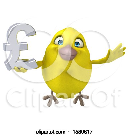Clipart of a 3d Yellow Bird Holding a Pound Currency Symbol, on a White Background - Royalty Free Illustration by Julos