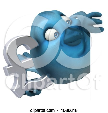 Clipart of a 3d Blue Bird Holding a Pound Currency Symbol, on a White Background - Royalty Free Illustration by Julos