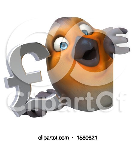 Clipart of a 3d Robin Bird Holding a Pound Currency Symbol, on a White Background - Royalty Free Illustration by Julos