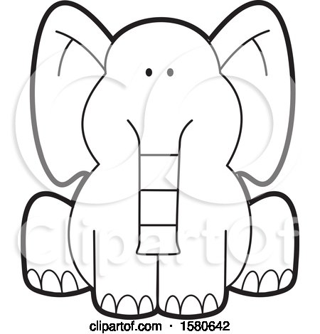 Clipart of a Cartoon Lineart Cute Sitting Elephant - Royalty Free Vector Illustration by Johnny Sajem