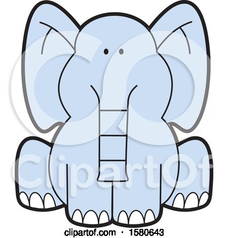Clipart of a Cartoon Cute Sitting Blue Elephant - Royalty Free Vector Illustration by Johnny Sajem