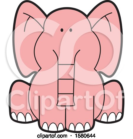 Clipart of a Cartoon Cute Sitting Pink Elephant - Royalty Free Vector Illustration by Johnny Sajem