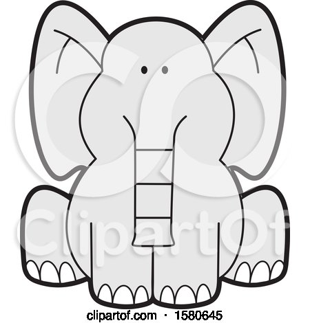 Clipart of a Cartoon Cute Sitting Gray Elephant - Royalty Free Vector Illustration by Johnny Sajem