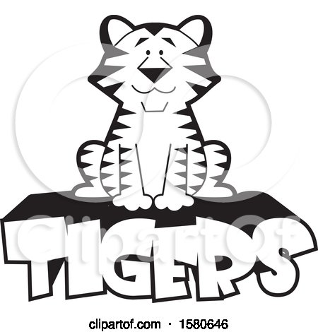 Clipart of a Black and White Sitting Tiger on Text - Royalty Free Vector Illustration by Johnny Sajem