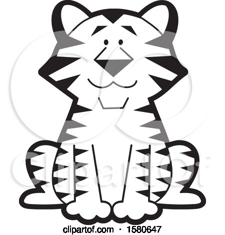 Clipart of a Black and White Cute Sitting Tiger - Royalty Free Vector Illustration by Johnny Sajem