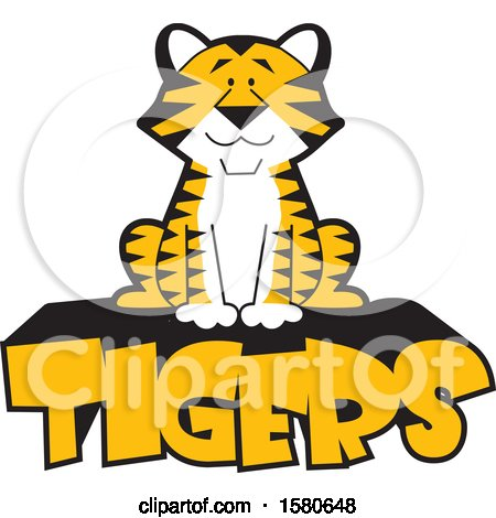 Clipart of a Sitting Tiger on Text - Royalty Free Vector Illustration by Johnny Sajem