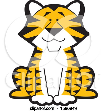 Clipart of a Cute Sitting Tiger - Royalty Free Vector Illustration by Johnny Sajem