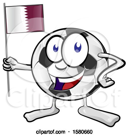 Clipart of a Soccer Ball Mascot Holding a Quatar Flag - Royalty Free Vector Illustration by Domenico Condello