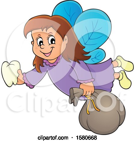 Clipart of a Tooth Fairy Flying - Royalty Free Vector Illustration by visekart