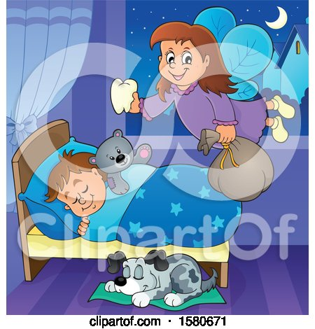 Clipart of a Tooth Fairy Flying over a Dog and Sleeping Boy - Royalty Free Vector Illustration by visekart
