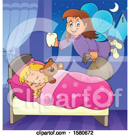 Tooth Fairy Flying over a Sleeping Girl Posters, Art Prints