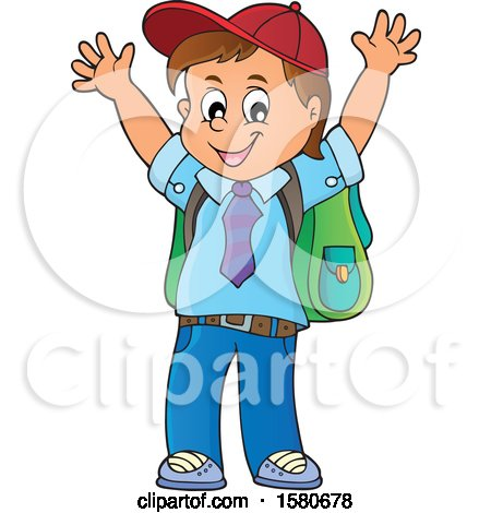 Clipart of a Cheering School Boy - Royalty Free Vector Illustration by visekart