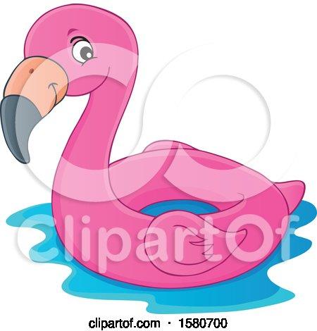 Clipart of a Pink Flamingo Swim Float Inner Tube - Royalty Free Vector Illustration by visekart