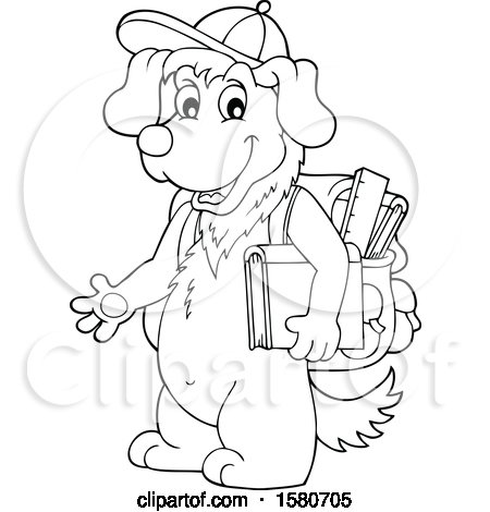 Clipart of a Lineart School Dog - Royalty Free Vector Illustration by visekart