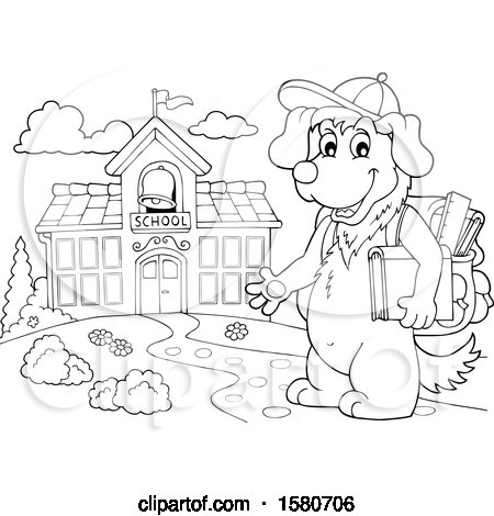 Clipart of a Lineart School Dog Outside a Building - Royalty Free Vector Illustration by visekart