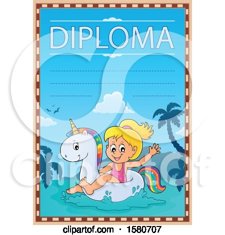Clipart of a Girl Floating on a Unicorn Swim Toy on a Diploma - Royalty Free Vector Illustration by visekart