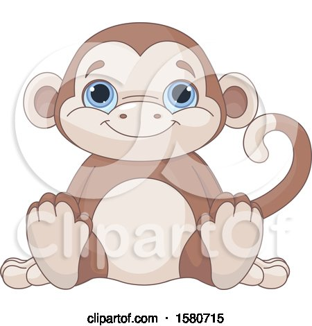 Clipart of a Cute Blue Eyed Stuffed Monkey Toy - Royalty Free Vector Illustration by Pushkin