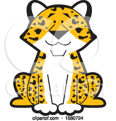 Clipart of a Sitting Happy Leopard - Royalty Free Vector Illustration by Johnny Sajem