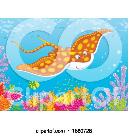 Clipart of a Stingray Fish Swimming over a Reef - Royalty Free Vector Illustration by Alex Bannykh