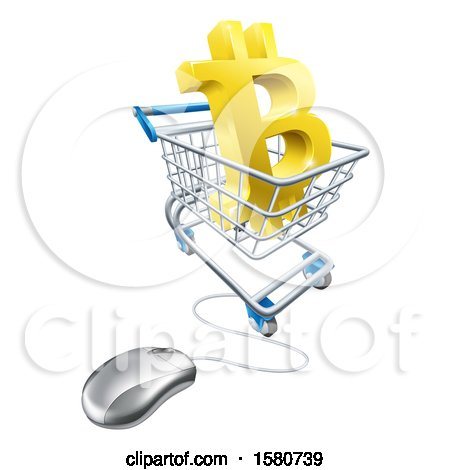 Clipart of a 3d Gold Bitcoin Currency Symbol in a Shopping Cart with a Connected Computer Mouse - Royalty Free Vector Illustration by AtStockIllustration