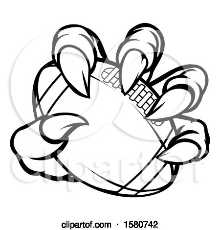 Clipart of a Black and White Monster Claw Holding a Football - Royalty Free Vector Illustration by AtStockIllustration