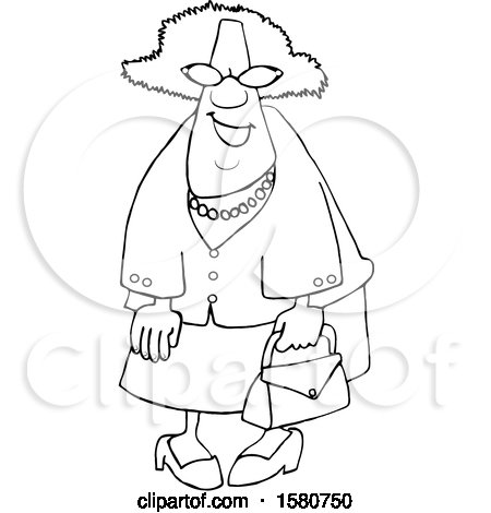 Clipart of a Cartoon Lineart Happy Black Granny Wearing Sunglasses and Carrying a Purse - Royalty Free Vector Illustration by djart