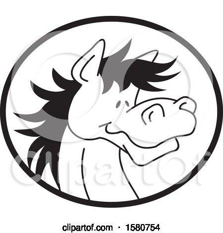 Clipart of a Black and White Horse Mascot in an Oval - Royalty Free Vector Illustration by Johnny Sajem