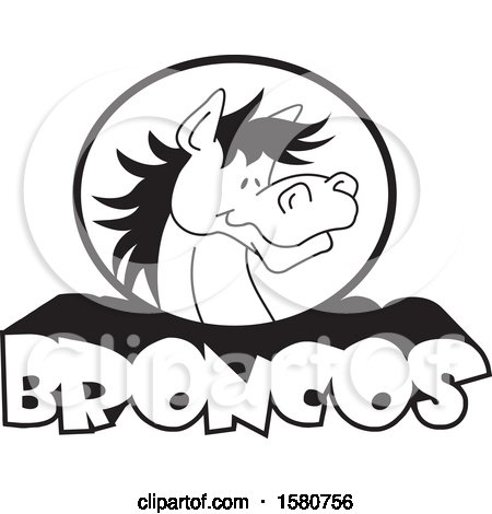 Clipart of a Black and White Horse Mascot over Broncos Text - Royalty Free Vector Illustration by Johnny Sajem