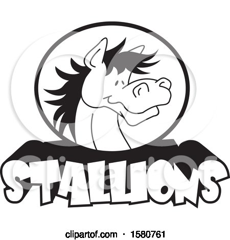 Clipart of a Black and White Horse Mascot over Stallions Text - Royalty Free Vector Illustration by Johnny Sajem