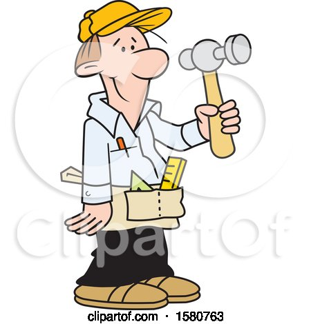 Clipart of a Cartoon White Male Carpenter Holding a Hammer - Royalty Free Vector Illustration by Johnny Sajem