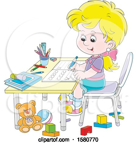 Clipart of a Blond Caucasian School Girl Writing Letters at Her Desk - Royalty Free Vector Illustration by Alex Bannykh