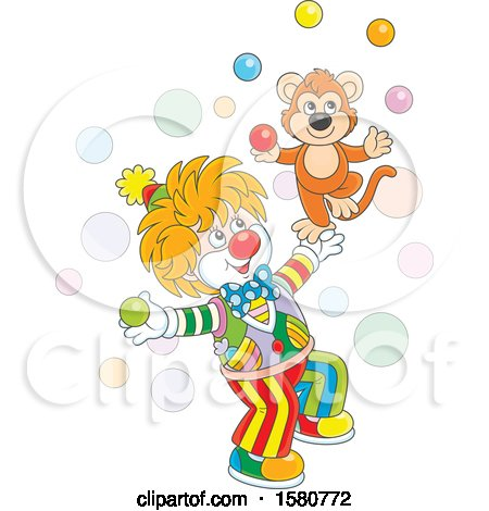 Clipart of a Cute Clown and Monkey Juggling - Royalty Free Vector Illustration by Alex Bannykh