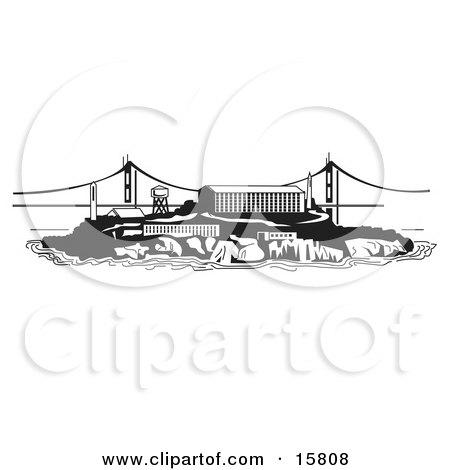The Prison On Alcatraz Island Clipart Illustration