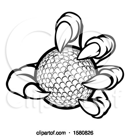 Clipart of a Black and White Monster Claw Holding a Golf Ball - Royalty Free Vector Illustration by AtStockIllustration