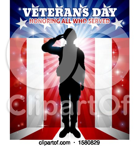 Clipart of a Silhouetted Full Length Male Military Veteran Saluting over an American Background and Text - Royalty Free Vector Illustration by AtStockIllustration
