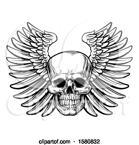 Clipart of a Black and White Winged Human Skull - Royalty Free Vector Illustration by AtStockIllustration