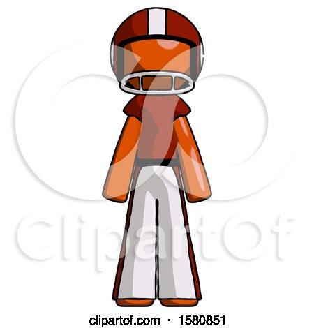 Orange Football Player Man Standing Facing Forward by Leo Blanchette
