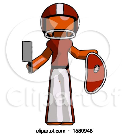 Orange Football Player Man Holding Large Steak with Butcher Knife by Leo Blanchette