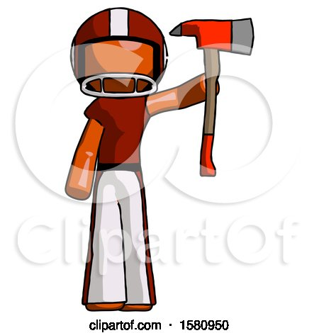 Orange Football Player Man Holding up Red Firefighter's Ax by Leo Blanchette
