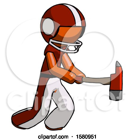 Orange Football Player Man with Ax Hitting, Striking, or Chopping by Leo Blanchette
