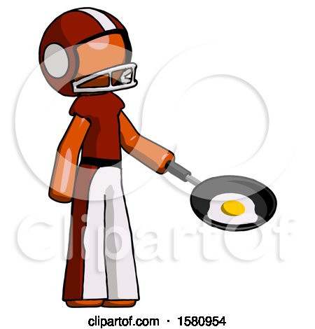Orange Football Player Man Frying Egg in Pan or Wok Facing Right by Leo Blanchette